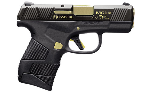 This is a Mossberg MC1SC chambered in 9mm. This limited edition model is a centennial commemoration to Mossberg's 100th year in business. The limited run of 1000 features a titanium nitride barrel, gold plating, and a specialized serial number. Comes with (2) magazines, (1) 6 round, (1) 7 round.