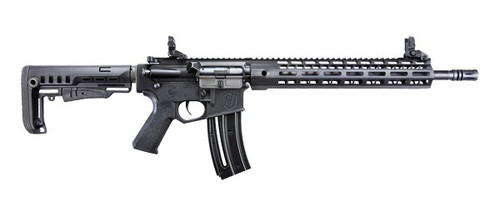 This is a Hammerli, Tac R1 chambered in .22 lr. Made by Umarex/Walther in Germany. Metal receiver, with a M-Lok free float rail, equipped with flip-up sights.