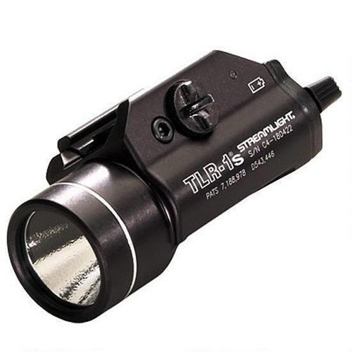 This is a Streamlight weapon light, model TLR-1S, with strobe capability with a maximum of 300 lumens.