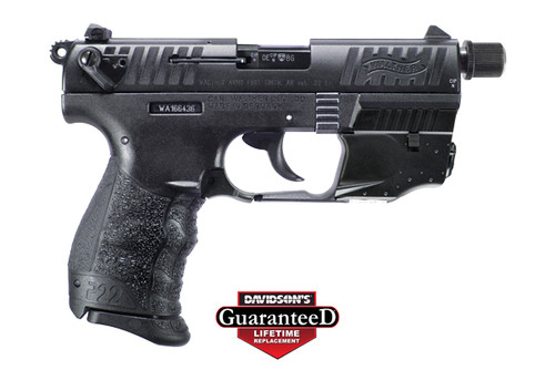 """This is a Walther Arms Inc P22Q .22lr  with (1)10 Round magazine. Also comes with a 3.4"""" threaded barrel and a factory laser."""