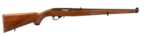"""This is a Ruger 10/22 .22 lr (37"""" long with 18.5"""" barrel) with a Mannlicher Walnut stock. The barrel is finished in a matte black."""
