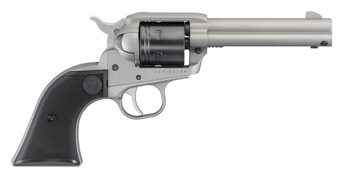 This is a Ruger Wrangler chambered in .22 L.R. (long rifle) with a silver cerakote finish.