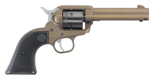 This is a Ruger Wrangler chambered in .22 L.R. (long rifle) with a bronze cerakote finish.