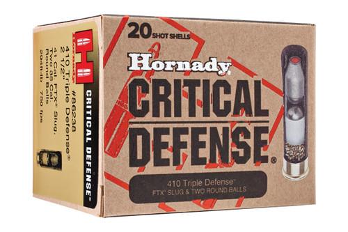 Hornady Shotshells - 410 Gauge - Critical Defense Triple Defense - 20 Rounds/Box - 86238