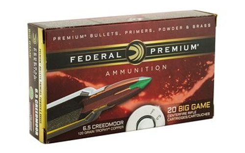 Federal Premium 6.5 Creedmoor 120gr Copper Trophy - Lead Free - 20 Rounds/box
