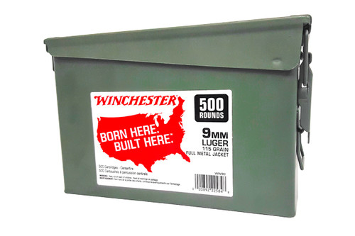 Winchester 9mm 115gr FMJ 500P Rounds w/ Ammo Can
