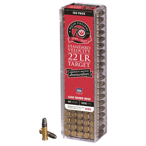 CCI Ruger 70th Anniversary .22 Long Rifle 40 Grain LRN Standard Velocity 100 Rounds/ Box Ammo