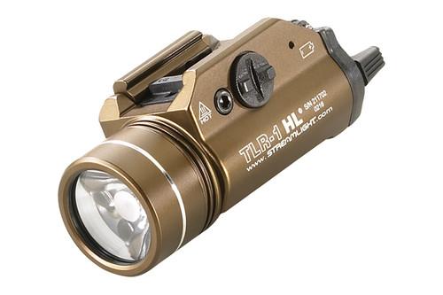 Streamlight TLR-1 HL Rail-Mounted TacticalFlashlight, 800 Lumens w/Lithium Batteries, Flat Dark Earth Brown, 69267
