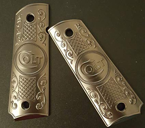 Big Cat Tactical - 1911 Government Grips - Brushed Nickel