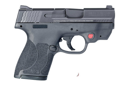 Smith & Wesson M&P 2.0 Shield chambered in 9mm an integrated Crimson Trace red laser, no safety.  Comes with (1) 7 round magazine and (1) 8 round magazine.
