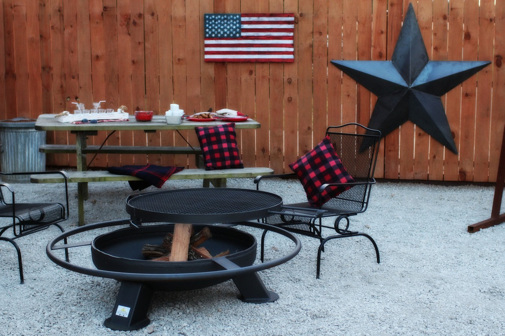Heavy duty fire pit for a patio, SWIVEL GRILL FIRE PIT