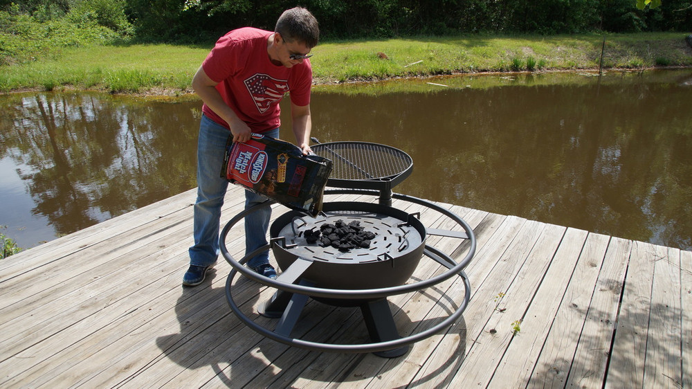 Grilling On A Heavy Duty Fire Pit  At The Lake