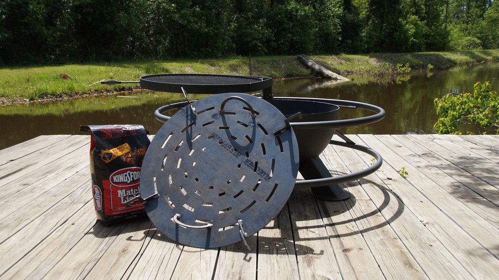 Grill With Charcoal In Your Fire Pit At The Lake Or At Home