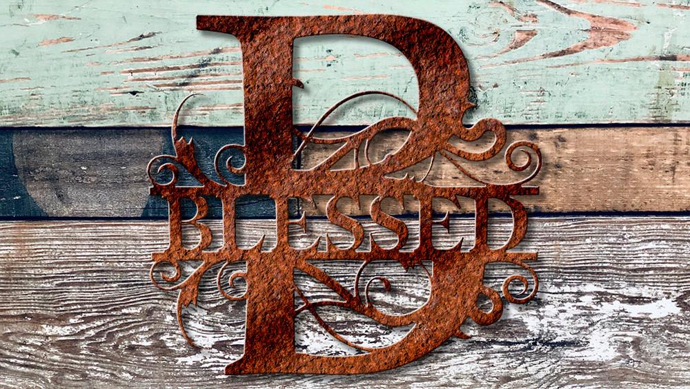 """Blessed 18"""" tall split monogram"""