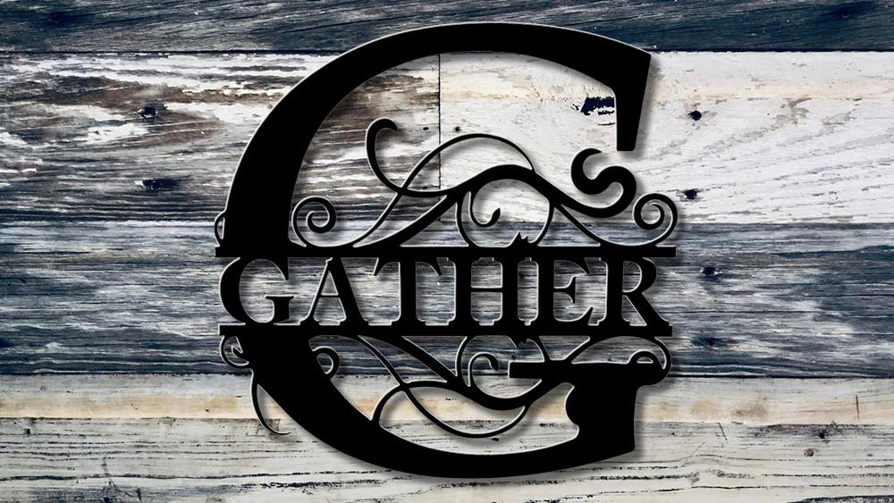 "Gather 18"" tall split monogram"