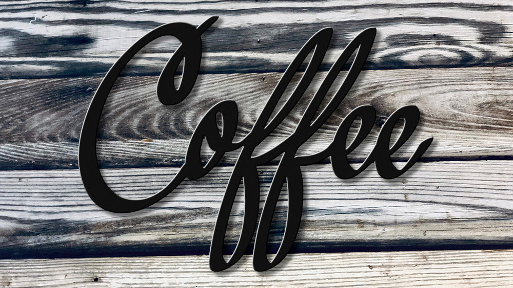 high quality coffee script metal cutout great for your coffee bar powder coated black