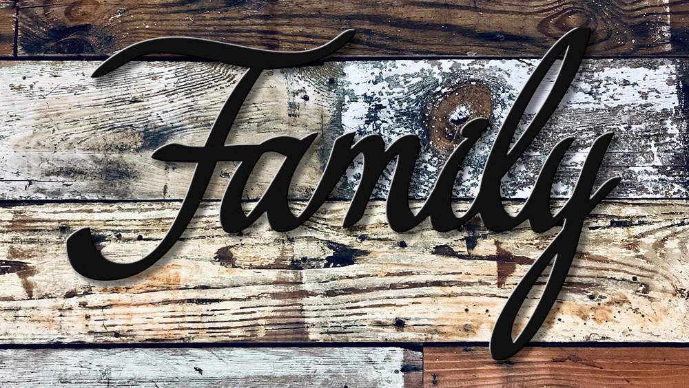 High quality script family metal cutout powder coated matte black