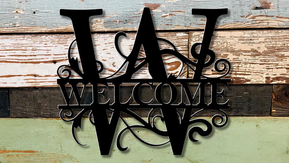 "Welcome 18"" tall split monogram"