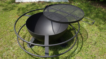 37 inch deep fire pit made in America with an adjustable grill top