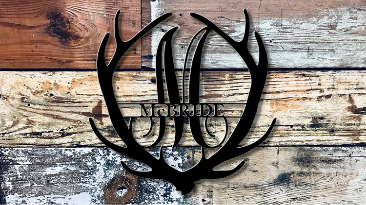 Custom Split Monogram Antler
