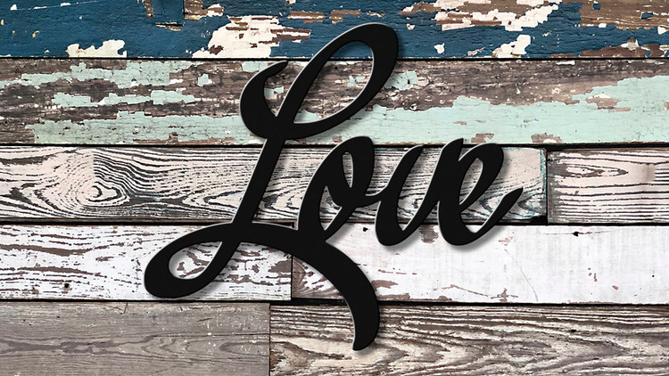 script love metal cutout great wall art quality home decor powder coated  black