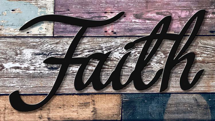high quality script faith home decor metal cutout powder coated matte black