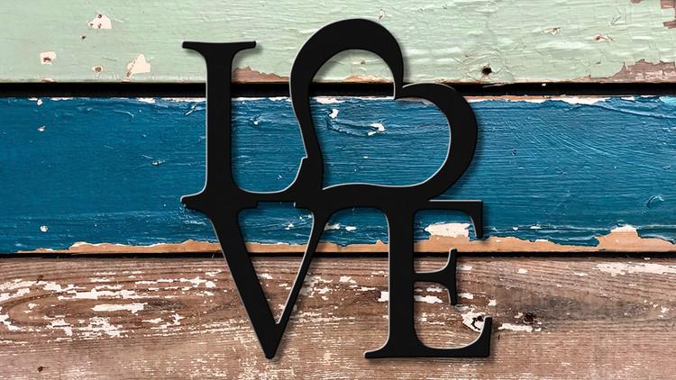 High quality heart love metal cutout powder coated matte black