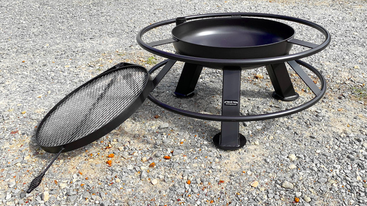 30 Inch Tall Fire Pit with Grill Top