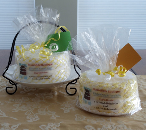 Yellow or Yellow and White Kitchen Delight Towel Cake