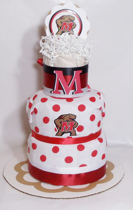 Eco Red/White Girls Maryland Terrapins Baby Fan Diaper Cake