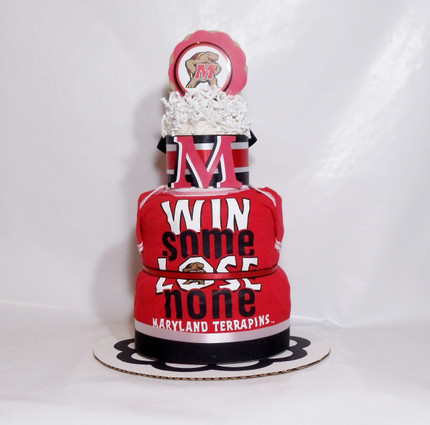 Eco Red/White/Black Boy Maryland Terps Baby Fan Diaper Cake