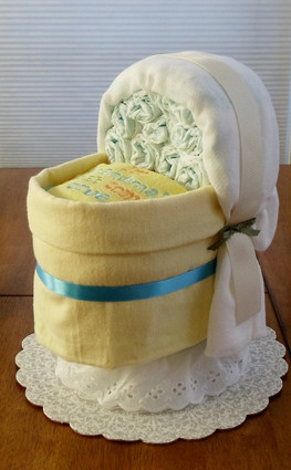"Unisex Yellow & Blue ""I'm Grandma's wish come true"" Bassinet Diaper Cake"