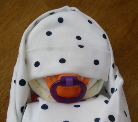 Girl's Pink & Dark Blue Dots Swaddled Diaper Baby