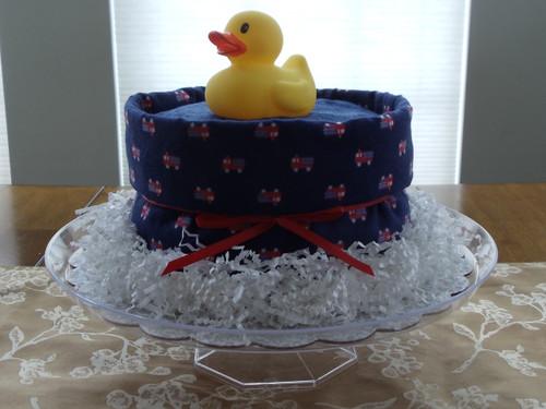 "Boy's Eco-friendly Blue/ Red ""Fire Engine"" Splish Splash Bath Diaper Cake"