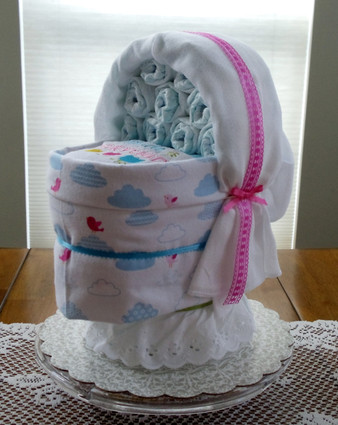 "Girl's Pink/White/Blue ""Attitude is everything"" Bassinet Diaper Cake & Shower Centerpiece"