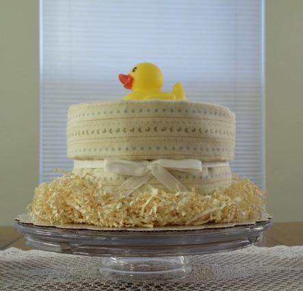 Unisex Yellow/Blue/Green Stars and Moons Splish Splash Bath Diaper Cake & Shower Centerpieces