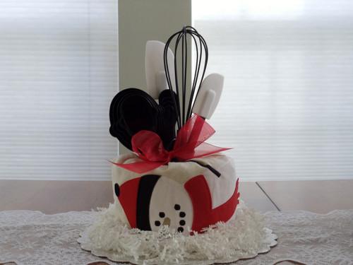 Red/Black/White Snowman Kitchen Towel Cake