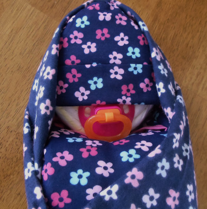 Girl's Pink & Blue Flowers Swaddled Diaper Baby and Baby Shower Gift