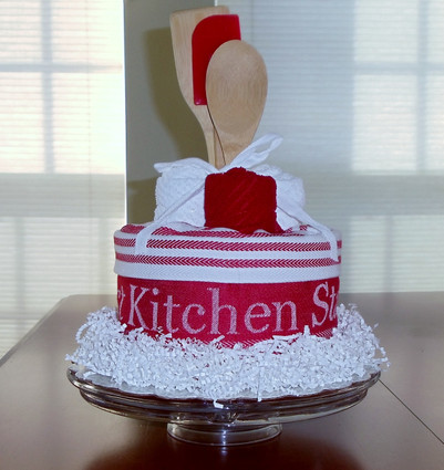 Red/White Strawberries & Cream Kitchen Towel Cake.