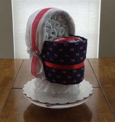 Boy Blue/Red Fire Engine Bassinet Diaper Cake.