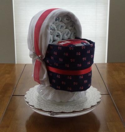 Boy Blue/Red Fire Engine Bassinet Diaper Cake.