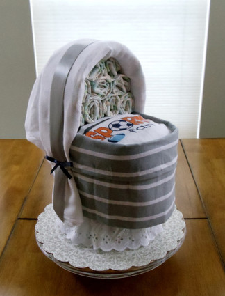 "Boy Eco Gray/White Stripes ""Sports Fans"" Bassinet Diaper Cake."