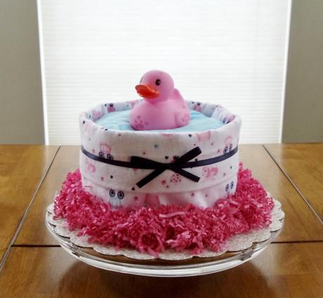 Girl Pink and White Princess Splish Splash Bath Diaper Cake
