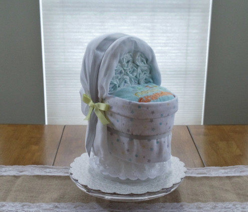 "Unisex Yellow/White/Gray Stars ""All I need is Grandma"" Bassinet Diaper Cake"