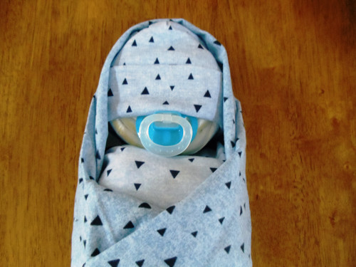 Boy's Blues & Triangles Swaddled Diaper Baby