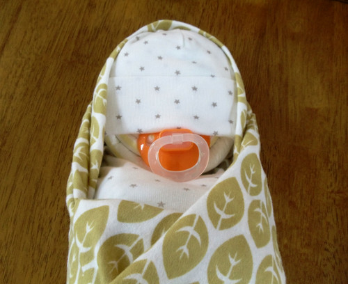 Unisex Tan/White Stars & Flowers Swaddle Diaper Baby