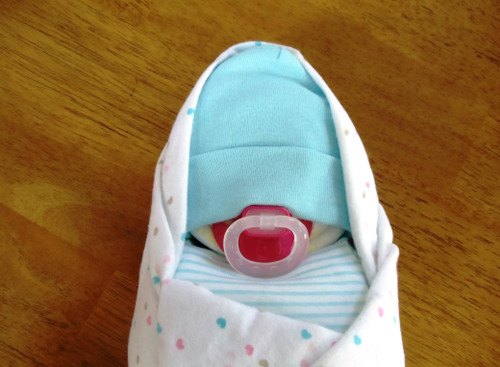 Girl's Blue and White Hearts Swaddle Diaper Baby