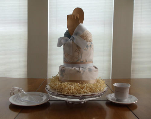 Cream and Blue Bird Gourmet Kitchen Towel Cake