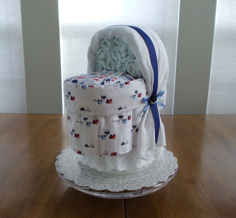 Boy's Blue and White Transport Bassinet Diaper Cake