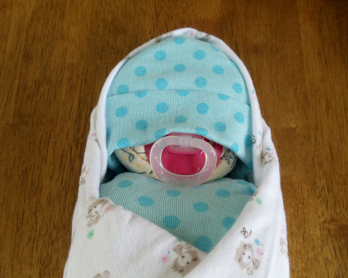 Girl Eco Blue Poke A Dots Kitten Swaddled Diaper Baby